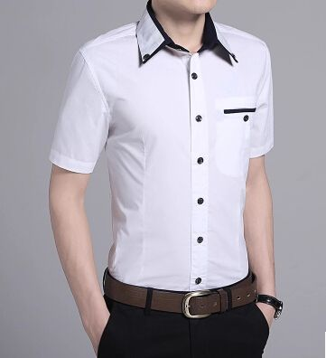 口袋拼色衬衫